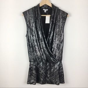 New NWT Cache Silver & Black Wrap Top Blouse M